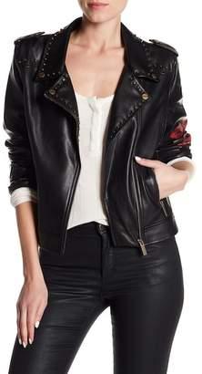 Sanctuary Funs & Roses Print Embellished Trim Faux Leather Moto Jacket