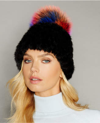 The Fur Vault Fox-Trim Knitted Mink Fur Hat