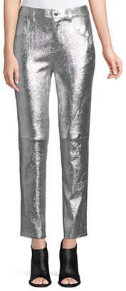Derek Lam 10 Crosby Lou High-Waist Patent Leather Cropped Skinny Pants