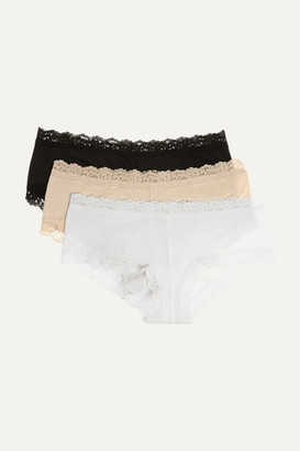 Hanky Panky Set Of Three Lace-trimmed Stretch-organic Cotton Jersey Boy Shorts