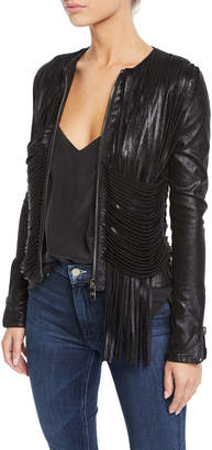 Nour Hammour Collarless Shimmered Leather Fringe Jacket