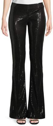 Galvan Flared-Leg Stretch-Sequin Galaxy Pants