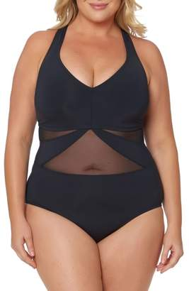 Bleu Rod Beattie Bleu by Rob Beattie Mesh One-Piece Swimsuit
