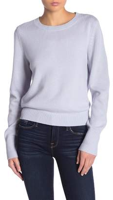 Frame Cropped Crew Neck Wool Blend Sweater