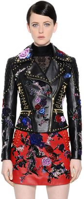 Floral Embellished Leather Biker Jacket $7,688 thestylecure.com