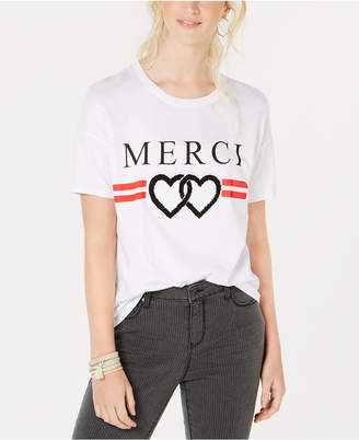 Rebellious One Juniors' Merci Chenille-Patch Graphic T-Shirt