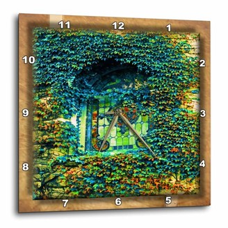 3dRose Ivy and Stained Glass, Wall Clock, 15 by 15-inch
