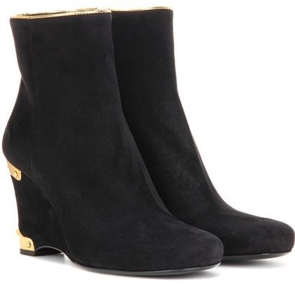 pradaPrada Suede Wedge Ankle Boots