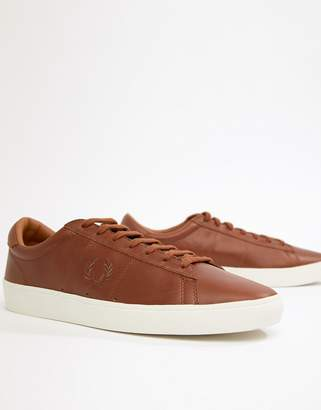 Fred Perry Spencer Waxed Leather Sneakers in Tan