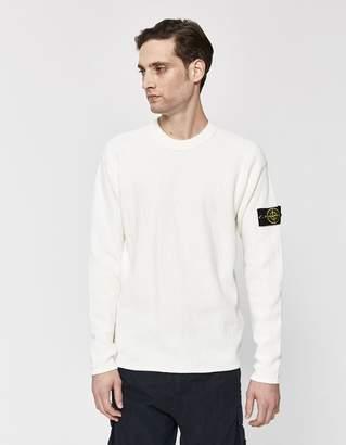 Stone Island Soft Cotton Irregular Stitch Sweater in Natural