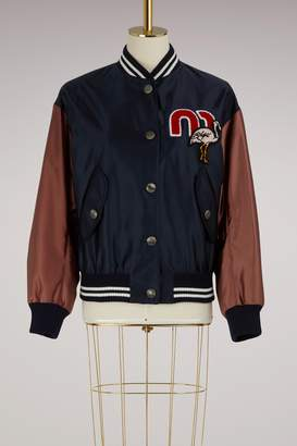 Miu Miu Embroidered logo bomber jacket