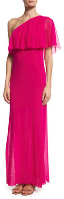 Fuzzi Ruffled One-Shoulder Column Gown, Fuchsia $370 thestylecure.com