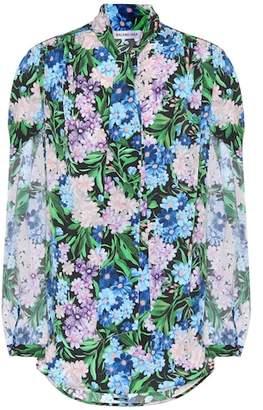 Balenciaga Floral-printed crêpe shirt