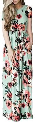 Aecibzo Women's Summer Floral Print Short Sleeve Maxi Long Party Dress (XXL, )