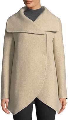 Cinzia Rocca Asymmetric Long-Sleeve Wool-Blend Wrap Jacket, Beige