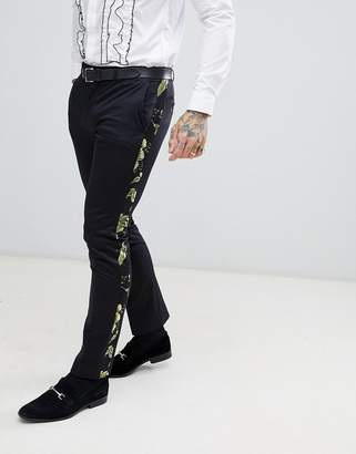 Twisted Tailor super skinny suit pants in black jacquard