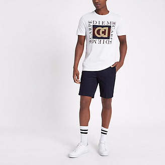 River Island Navy slim fit belted chino shorts