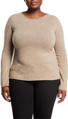 Neiman Marcus Basic Cashmere Crewneck Pullover Sweater, Plus Size