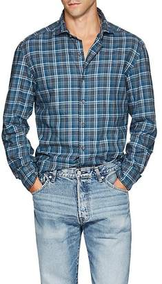 Barneys New York Men's Checked Cotton Flannel Shirt - Blue Pat.