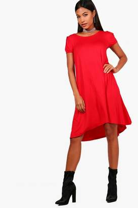 boohoo Short Sleeve Jersey Swing Dress