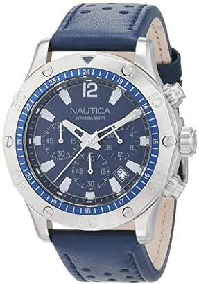 Nautica Men's 'NST 21' Quartz Stainless Steel and Leather Casual Watch
