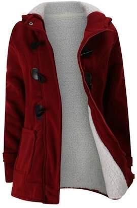 ARRIVE GUIDE Womens Hoodie Classic Wool-Blend Fleece Warm Jacket Outwear Coat XL