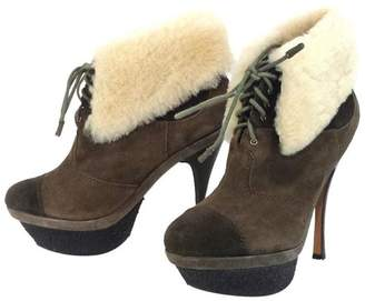 L.A.M.B. Army Green Suede & Fur Booties $98.99 thestylecure.com