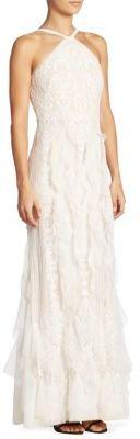 BCBGMAXAZRIA Ruffled Lace Halter Gown