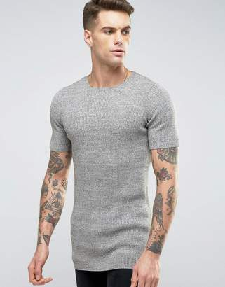 Asos DESIGN Longline Ribbed Knitted T-Shirt in Muscle Fit