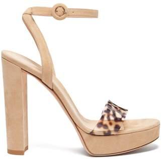 Gianvito Rossi Plexi 100 Leopard Strap Platform Sandals - Womens - Nude Multi