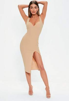 Missguided Nude Sweetheart Neckline Midi Dress, Nude