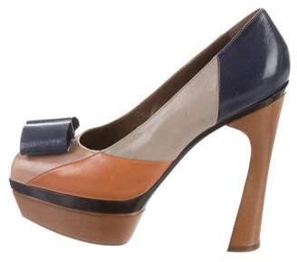 Marni Leather Peep-Toe Platform Pumps