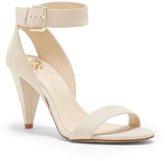 Vince Camuto Caitriona Suede Nubuck Buckle Ankle Strap Cone Heel Sandals