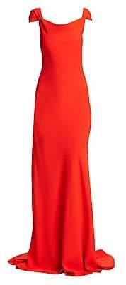 Oscar de la Renta Women's Cowl Cap Sleeve Gown