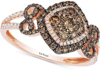 LeVian Le Vian Chocolatier® Diamond Fancy Ring (3/4 ct. t.w.) in 14k Rose Gold