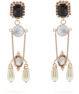 Erdem Crystal And Faux Pearl Embellished Drop Earrings - Womens - Blue