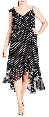 City Chic Plus Dot-Print Ruffled Midi Dress