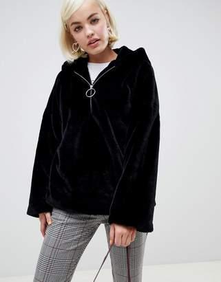 Glamorous half zip hooded jacket in faux fur