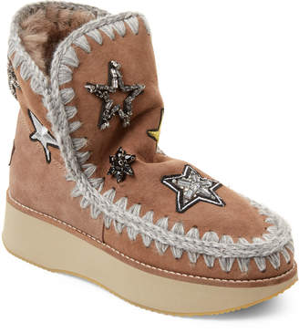 Mou Stone Running Eskimo Star Patch Real Fur-Lined Boots