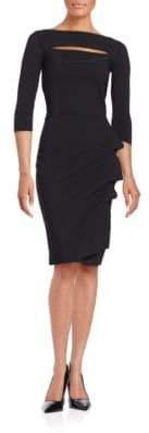 Chiara Boni Kate Ruffled Three Quarter Sleeve Bodycon Dress