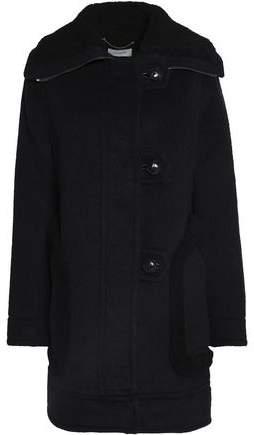 Shearling-Trimmed Brushed Wool-Blend Coat