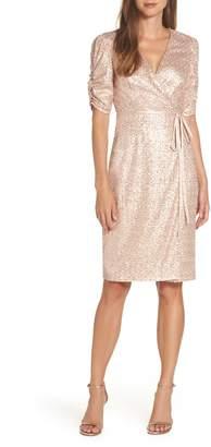 Eliza J Sequin Faux Wrap Dress