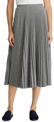 Ralph Lauren Pleated Geo Print Midi Skirt