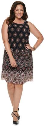 Dana Buchman Plus Size Printed Mesh Overlay Sheath Dress