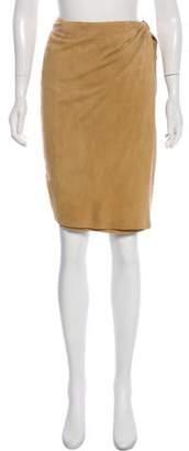 Ralph Lauren Black Label Suede Knee-Length Skirt