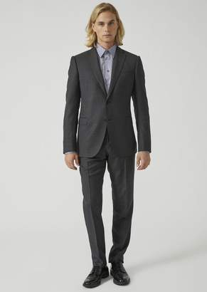 Emporio Armani Modern Fit Suit In Pure Virgin Wool With A Single-Breasted Jacket