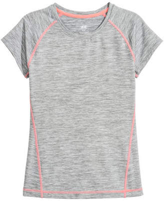 H&M Short-sleeved Sports Top - Gray