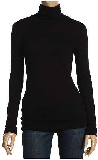Three Dots - Jersey Colette L/S Turtleneck (Black)