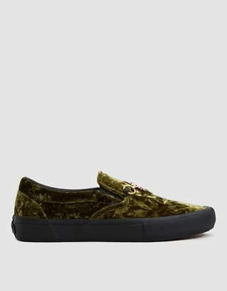 Vans Vault By Needles Velvet Classic Slip-On VLT LX Sneaker in Green