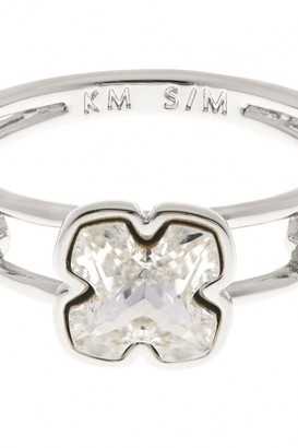 Karen Millen Jewellery Ladies Silver Plated Art Glass Flower Ring Size SM KMJ925-01-02SM